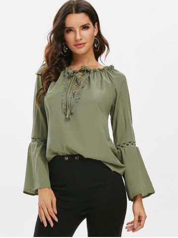 Guipure Lace Panel Frilled Long Sleeve Blouse