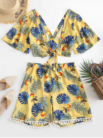 Plus Size Tropical Print Front Knot Co Ord Set