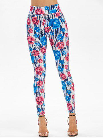 Skinny Allover Flower Print High Waisted Leggings - L CORNFLOWER BLUE