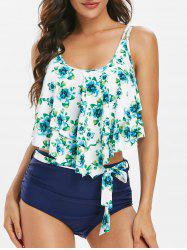 Floral Print Belted Overlay Tankini Swimsuit -