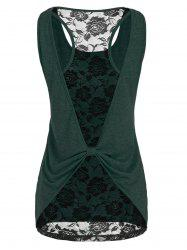 Cut Out Lace Insert Marled Tank Top -