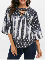 American Flag Cutout Lace Up T-shirt -