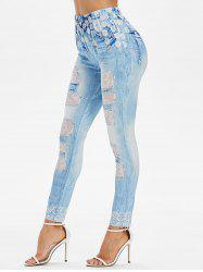 Floral Lace Panel Print Skinny Faux Jeans -