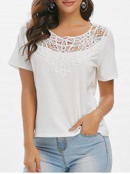 Crochet Panel Solid Casual T-shirt -