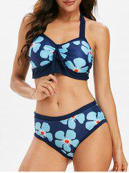 Flower Print Knotted Padded Bikini Swimsuit -