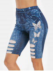 Butterfly 3D Jean Print High Waisted Cycling Shorts -