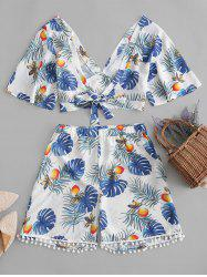 Plus Size Front Tie Tropical Print Two Piece Outfit -