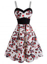 Plus Size Butterfly Heart Print Vintage Flare Dress -