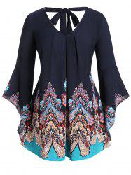 Plus Size Tribal Print Back Tie Flare Sleeve Blouse -