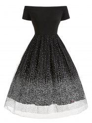 Plus Size Tulle Sequined Dot Off The Shoulder Dress -