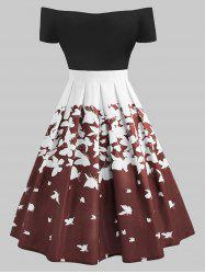 Plus Size Retro Butterfly Off The Shoulder Dress -