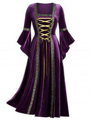 Plus Size Flare Sleeve Lace Up Velvet Gothic Maxi Dress -