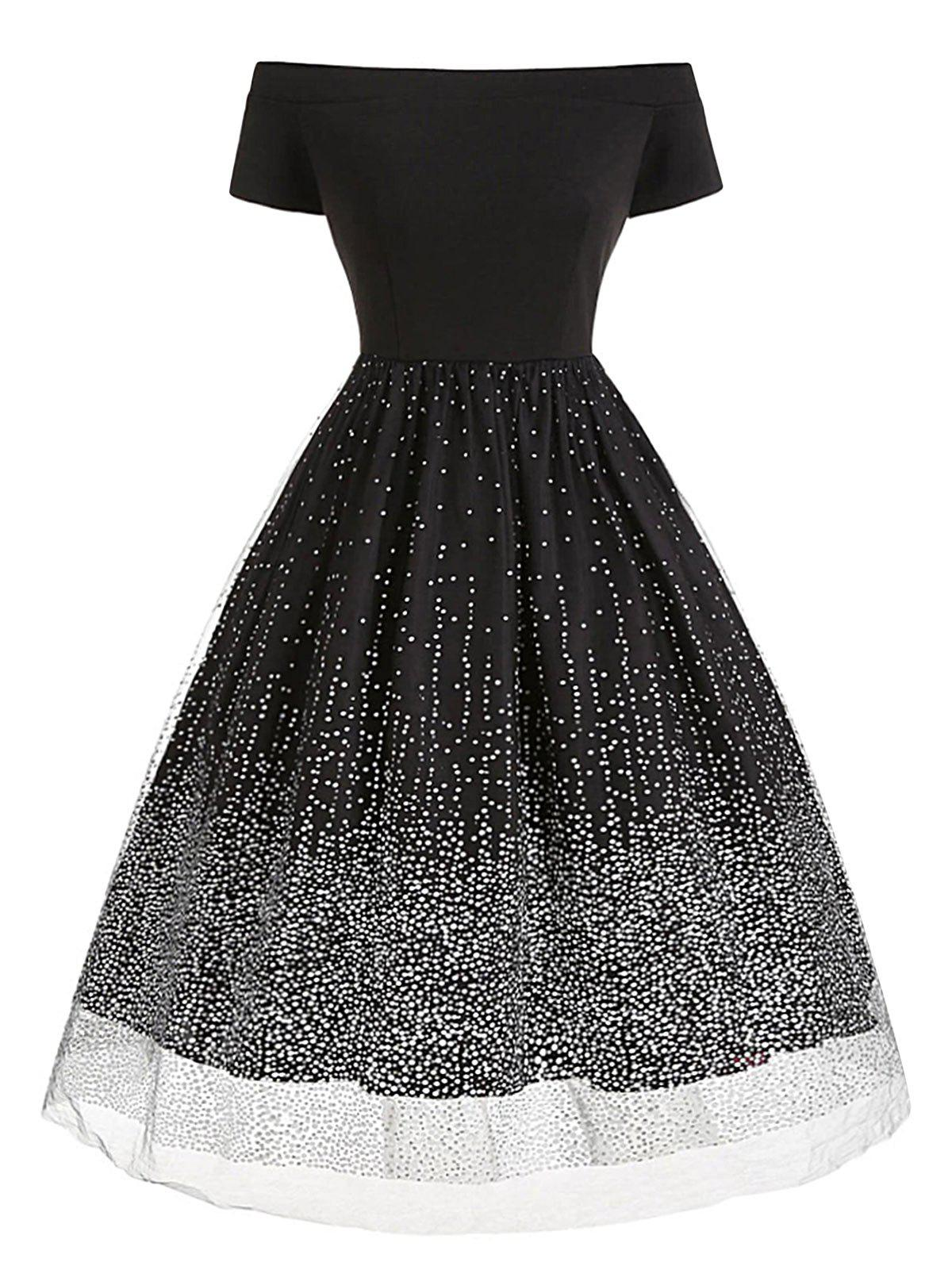 Plus Size Tulle Sequined Dot Off The Shoulder Dress