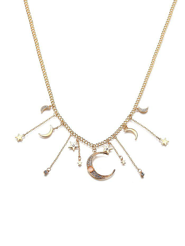 New Rhinestone Star And Moon Pendant Necklace
