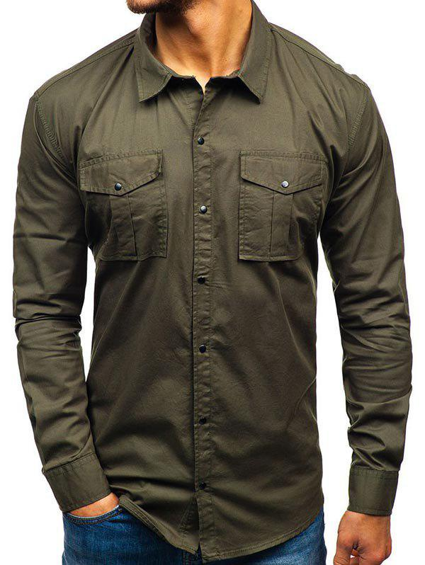 Solid Color Button Up Casual Cargo Shirt, Army green