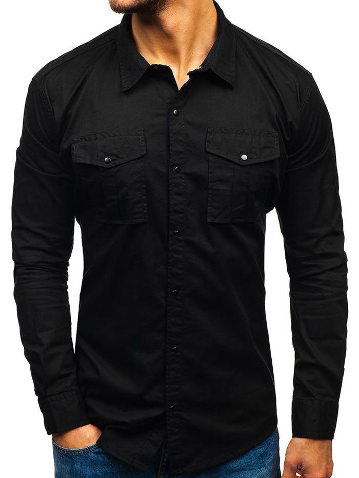 Solid Color Button Up Casual Cargo Shirt, Black