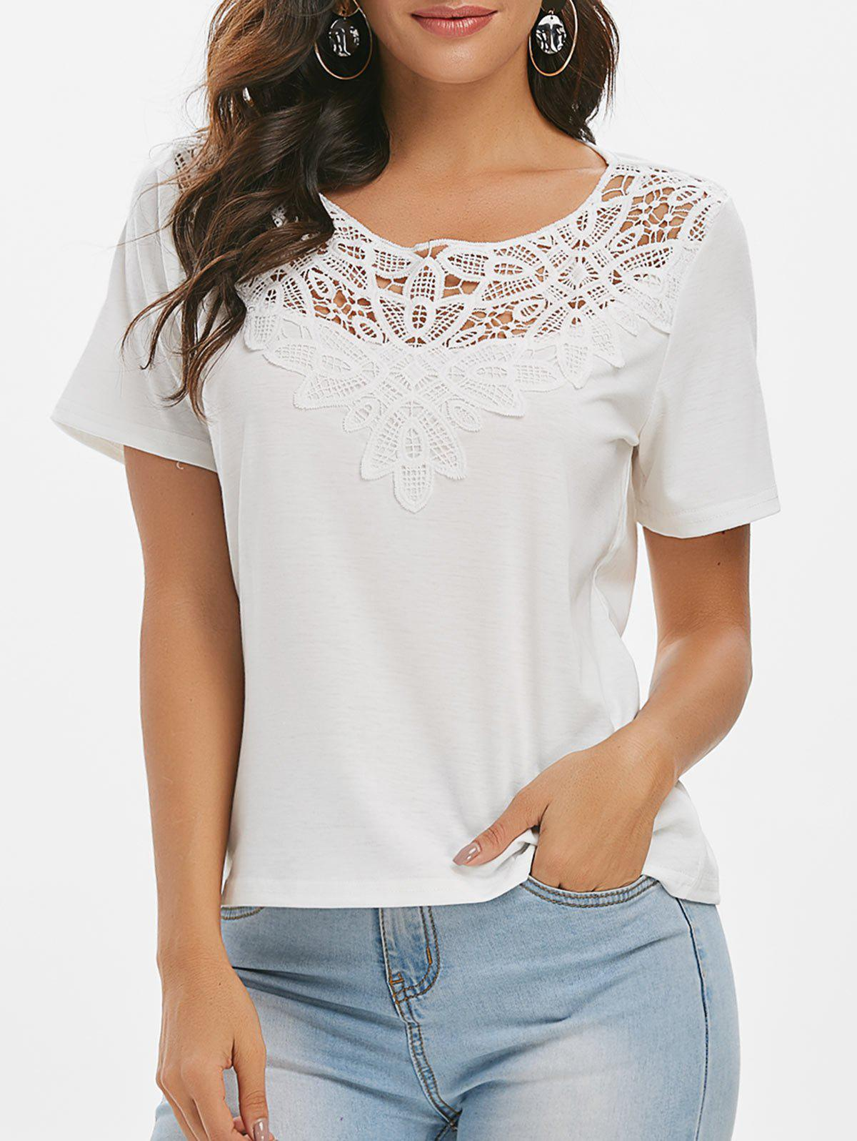 Chic Crochet Panel Solid Casual T-shirt