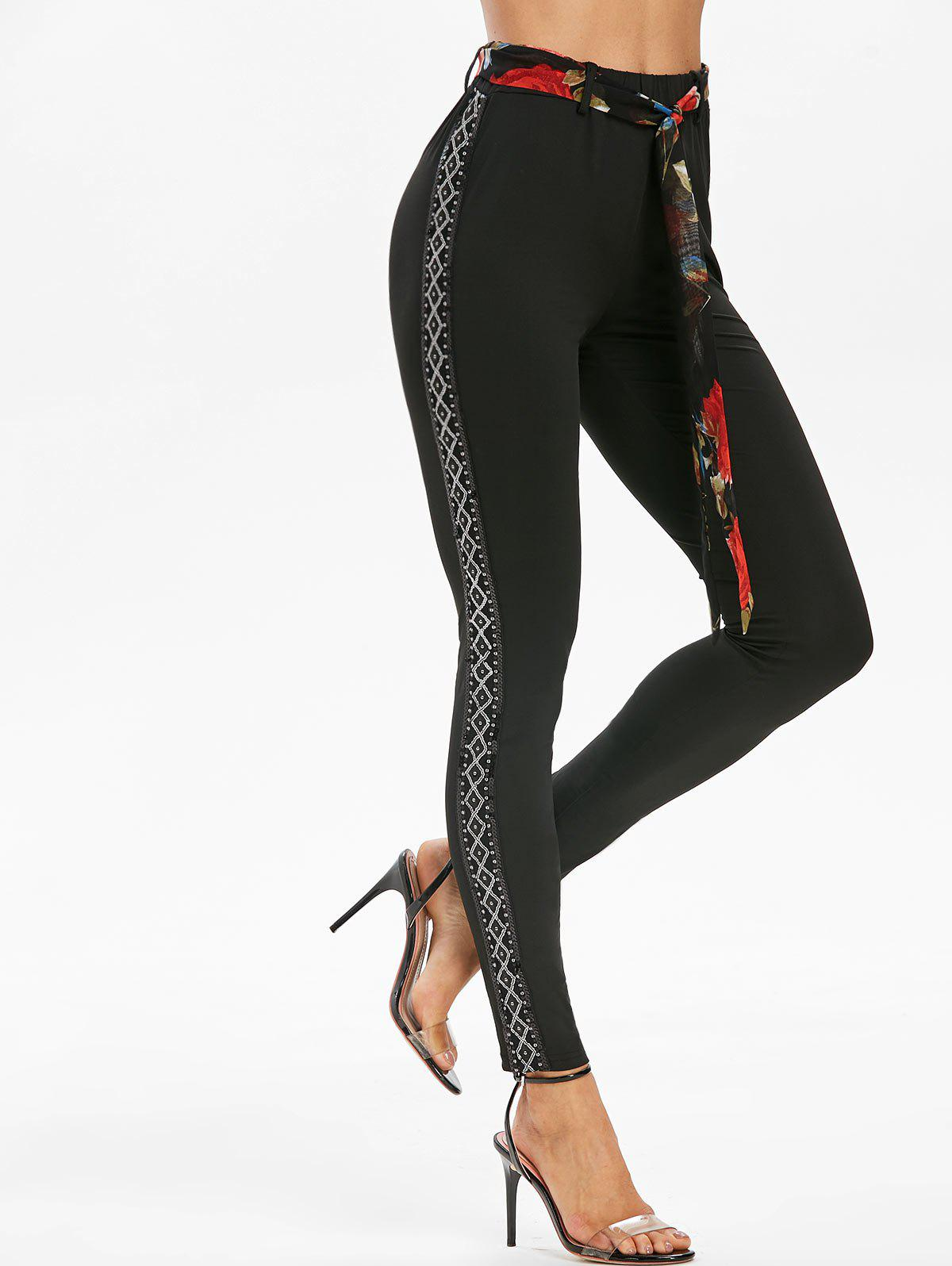 Chic Geometric Sequined Side Panel Skinny Leggings with Belt