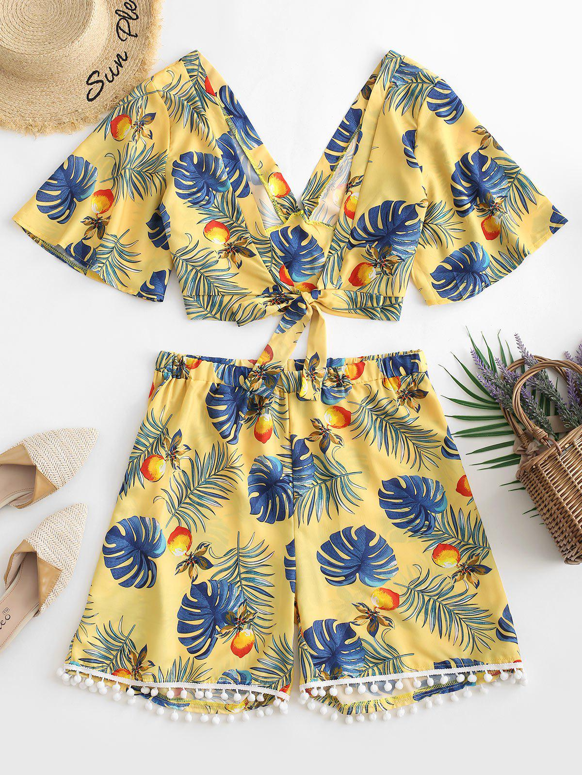 Hot Plus Size Tropical Print Front Knot Co Ord Set