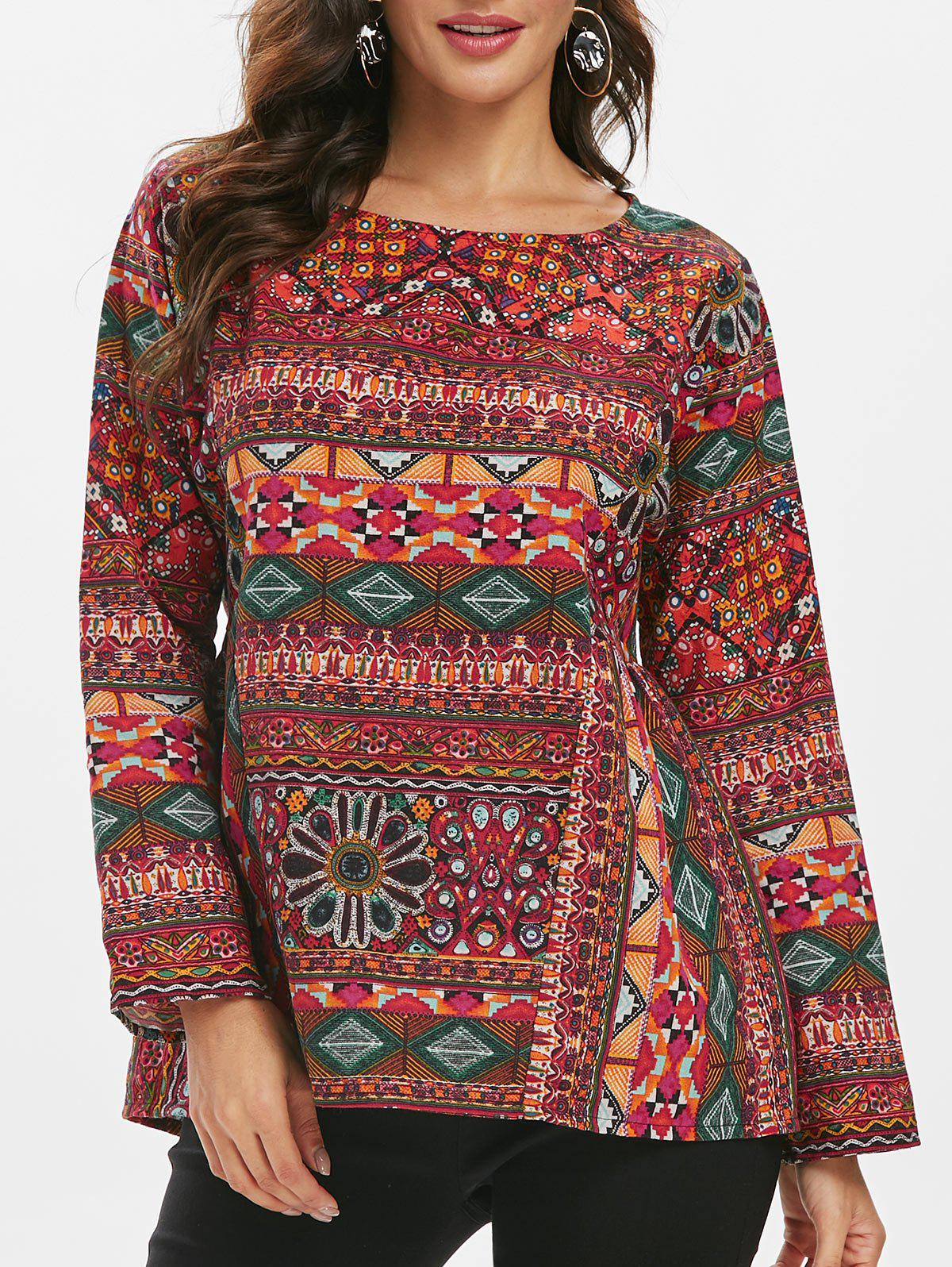 Online Round Neck Tribal Print Loose Blouse