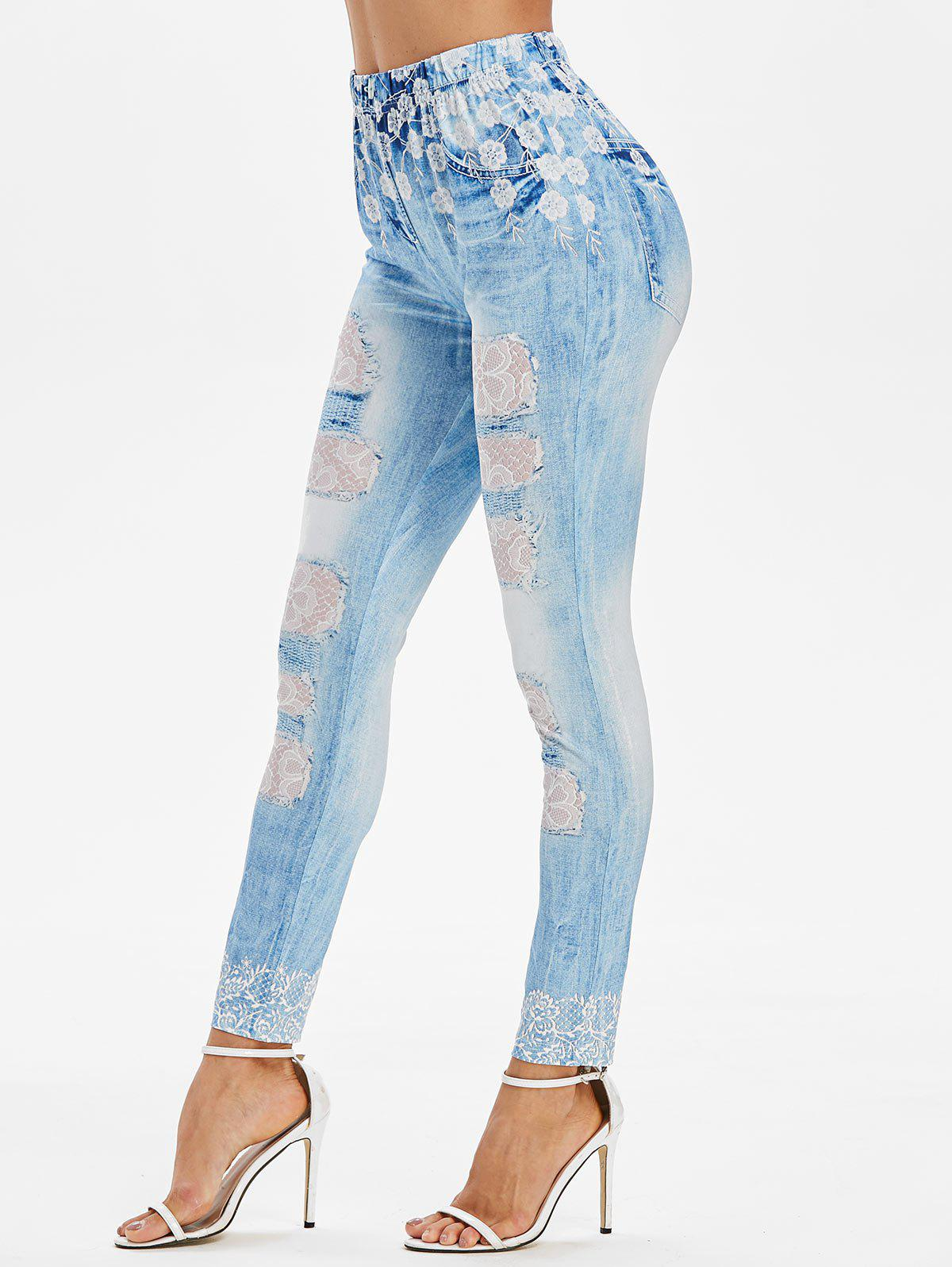 Affordable Floral Lace Panel Print Skinny Faux Jeans