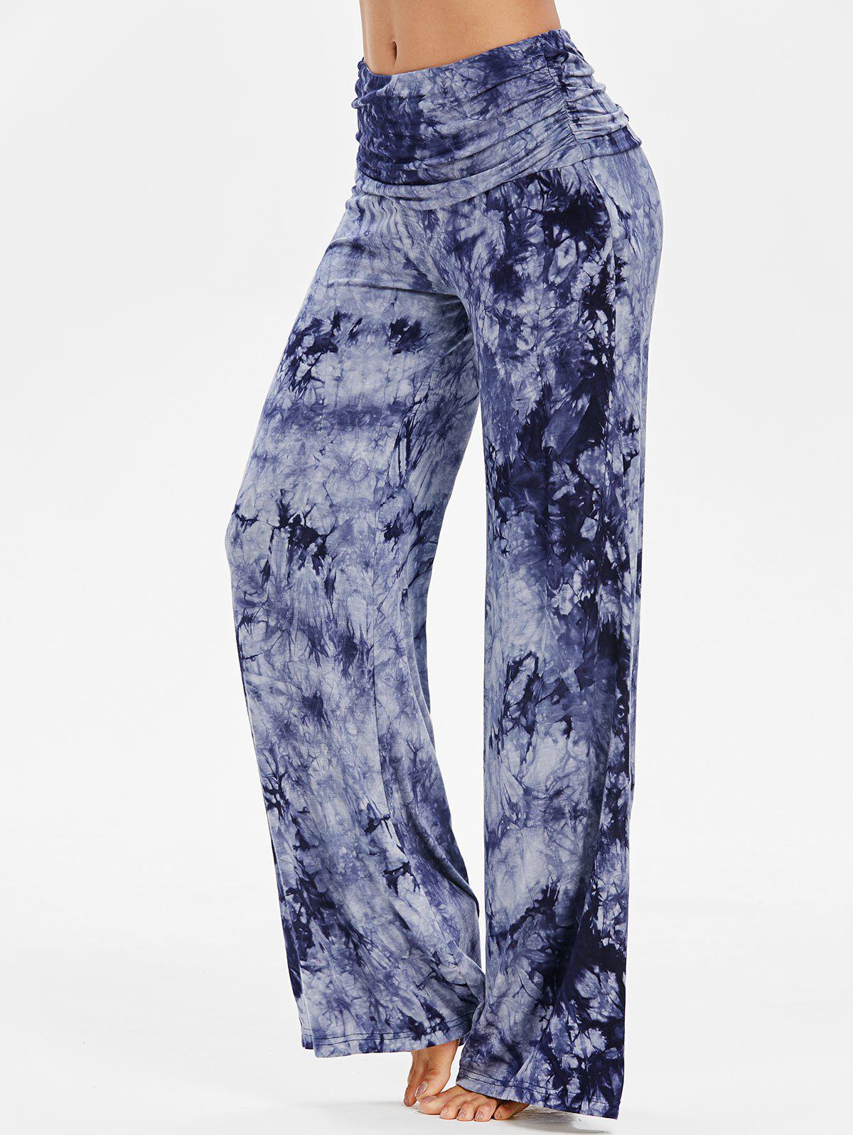 New Wide Leg Ruched Tie Dye Pants