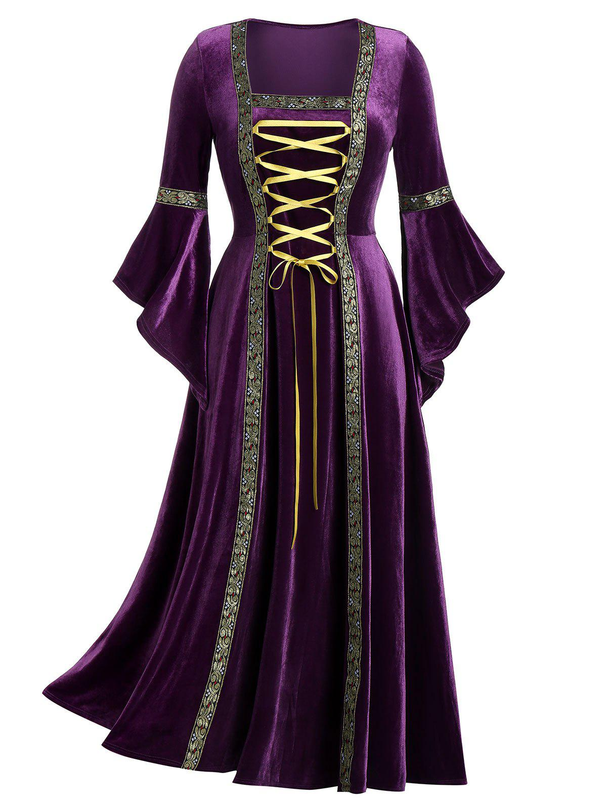 Hot Plus Size Flare Sleeve Lace Up Velvet Gothic Maxi Dress