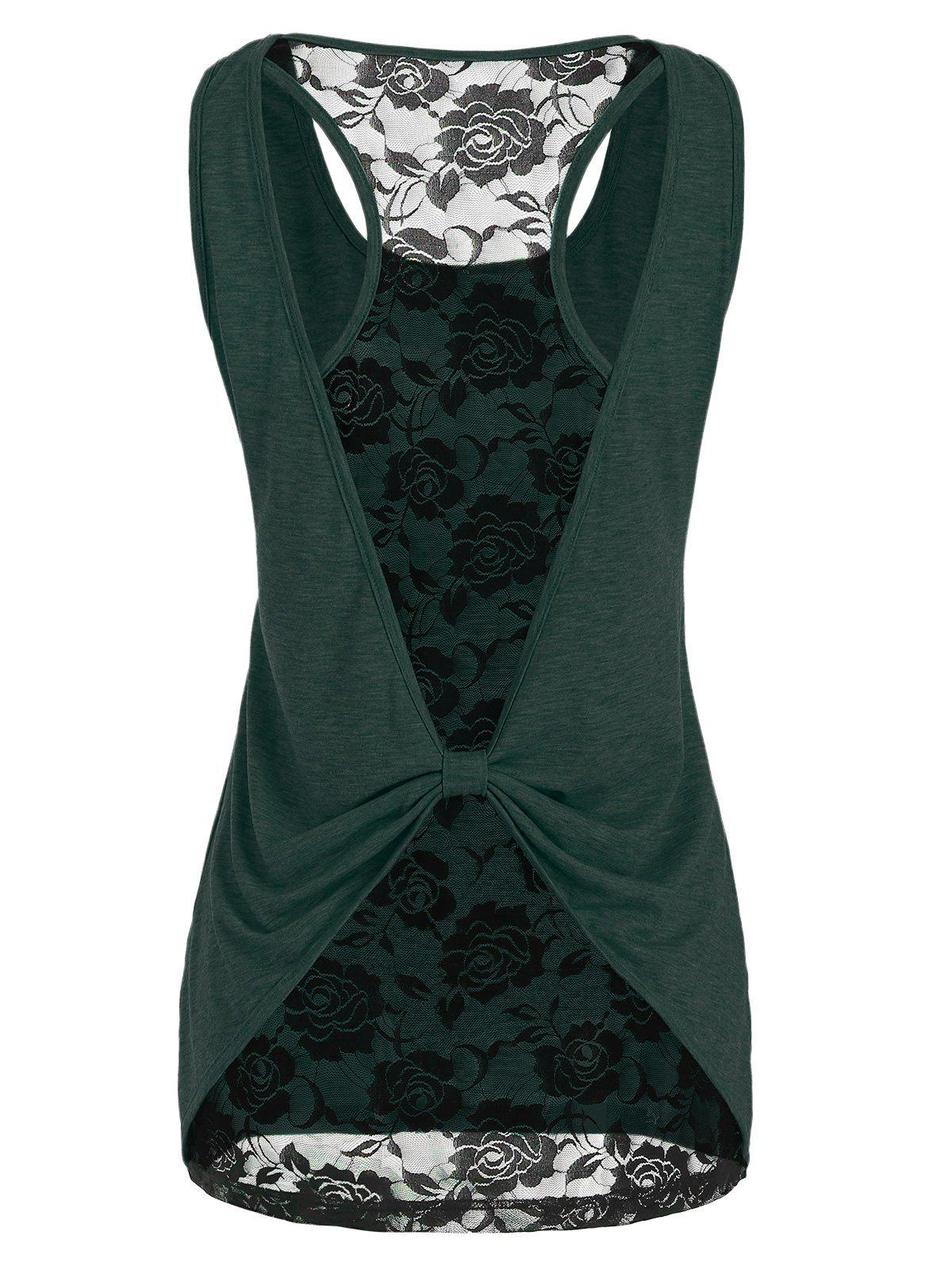 Unique Cut Out Lace Insert Marled Tank Top