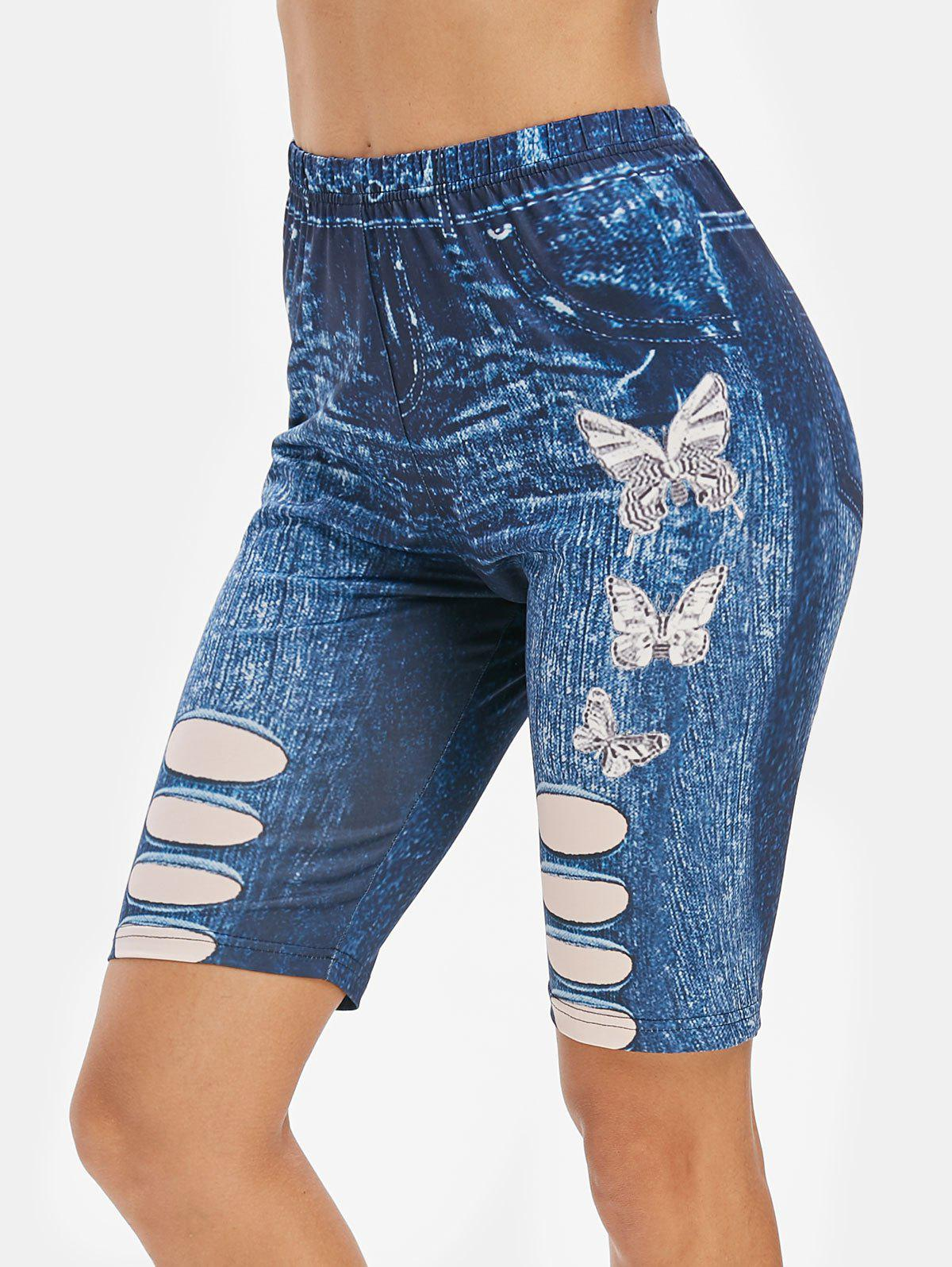 Discount Butterfly 3D Jean Print High Waisted Cycling Shorts
