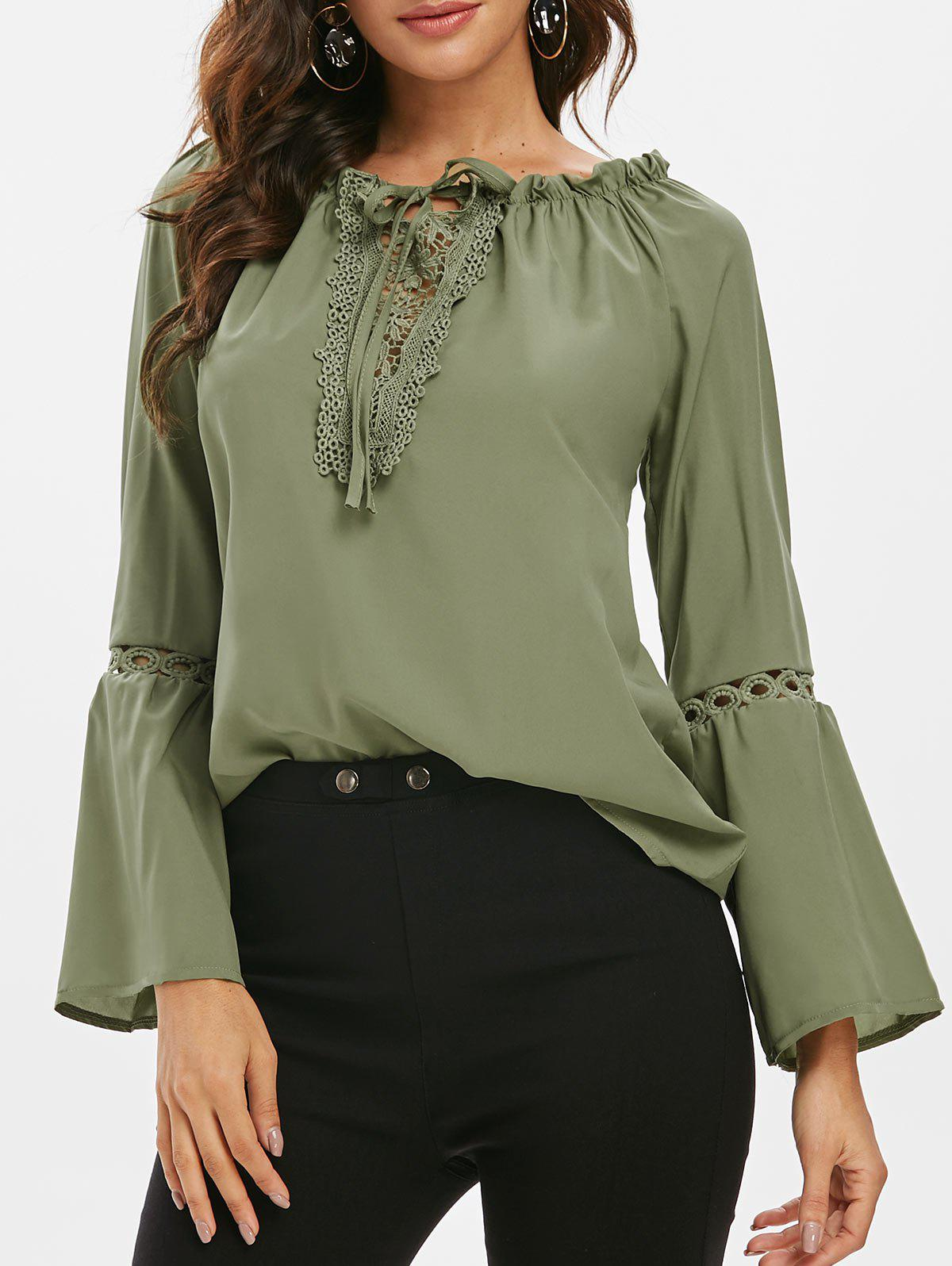 532f332c0aacac 27% OFF] Guipure Lace Panel Frilled Long Sleeve Blouse | Rosegal