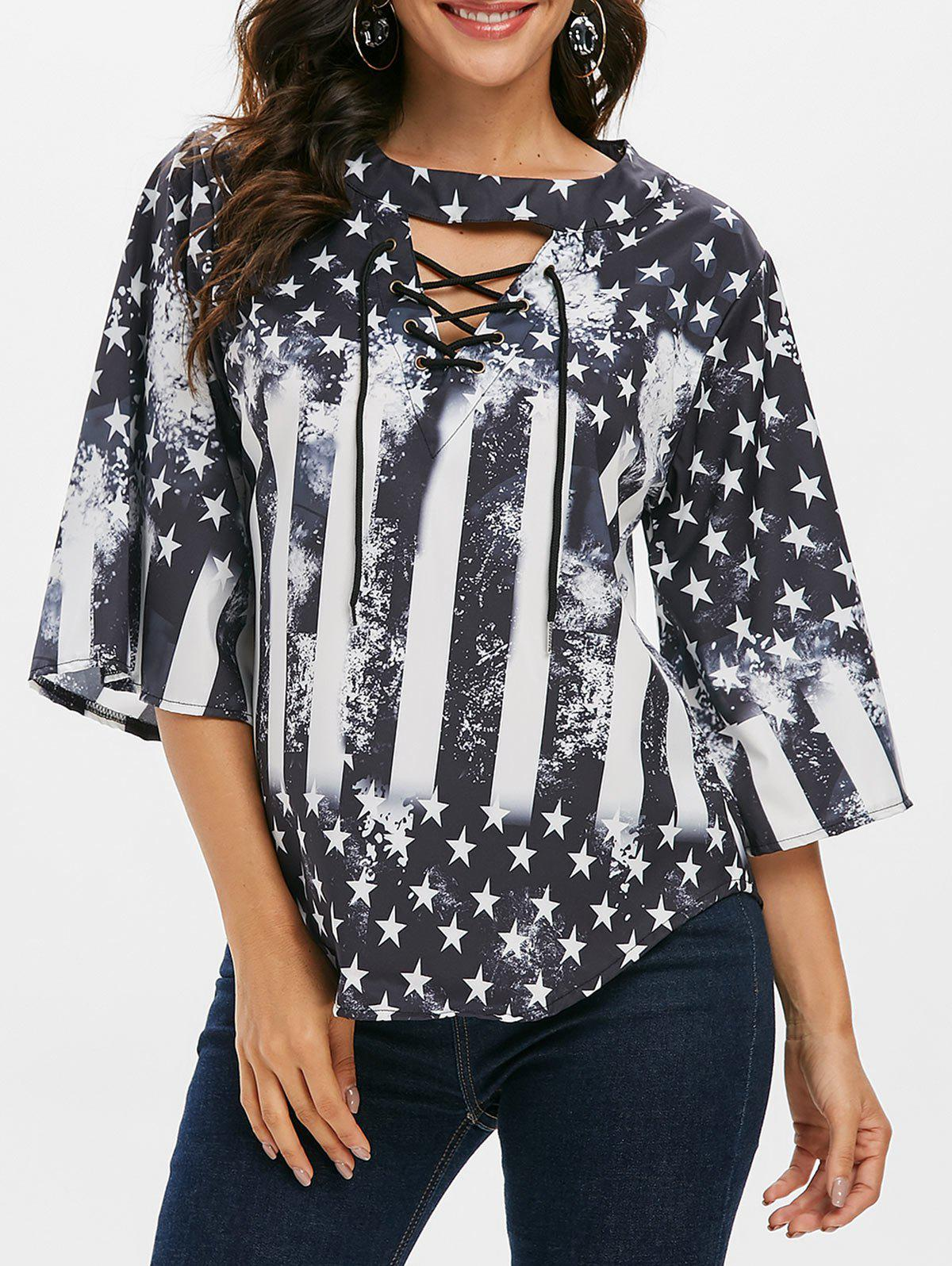 Hot American Flag Cutout Lace Up T-shirt