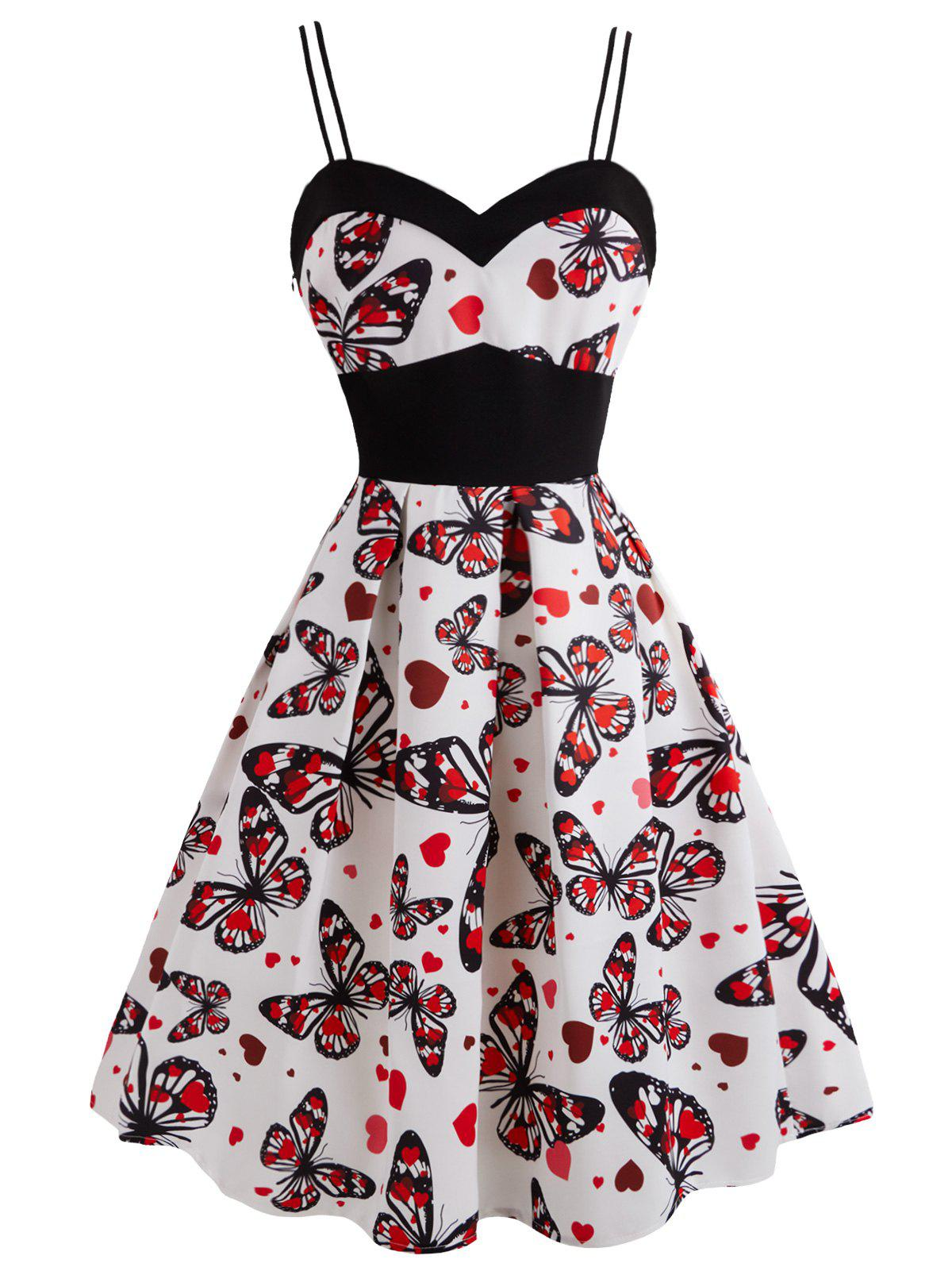 Shops Plus Size Butterfly Heart Print Vintage Flare Dress