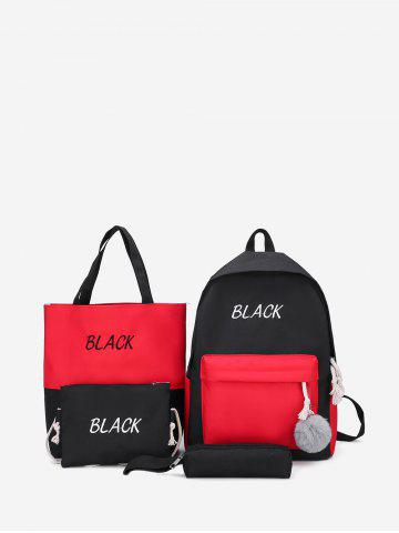 4 Piece Hit Color Canvas Backpack Sets