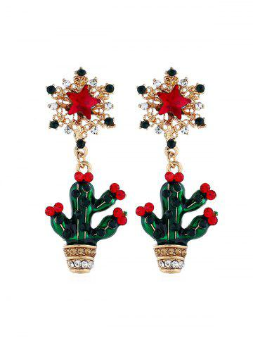 Rhinestone Star Cactus Drop Earrings
