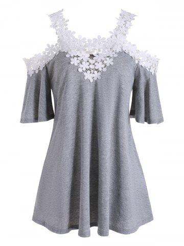 Floral Lace Cold Shoulder Scoop Neck Tee