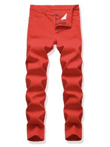 Solid Color Zipper Fly Simple Pencil Jeans