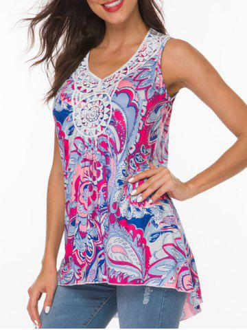 V Neck Crochet Panel Paisley Print Tunic Top