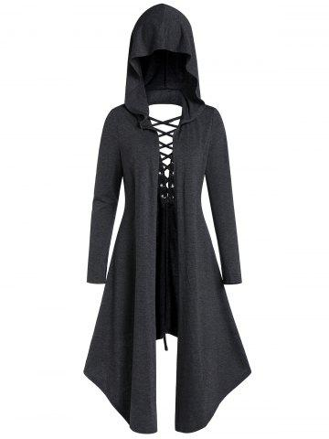Asymmetric Lace-up Cut Out Open Front Hooded Gothic Coat