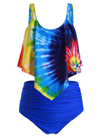 Plus Size Overlay Tie Dye High Waist Tankini Swimsuit - MULTI-B - 1X