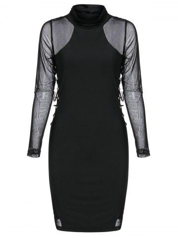 Rivet Embellished Lace-up Mesh Insert Mini Gothic Bodycon Dress