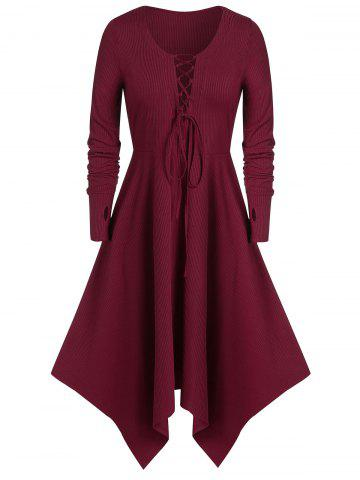 Plus Size Asymmetric Long Sleeve Lace UP Dress - RED WINE - 1X