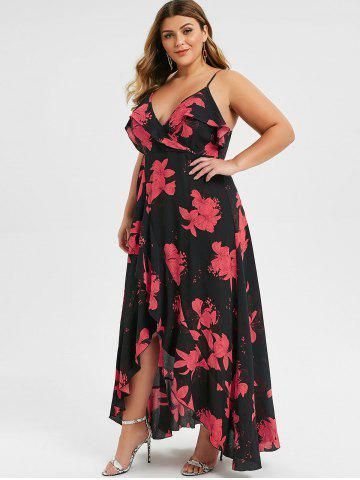 Plus Size Spaghetti Strap High Waist Slit Dress