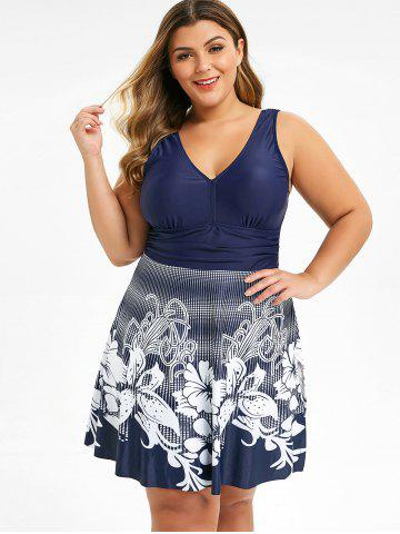 Plus Size Plunge Floral Skirted One-piece Swimwear