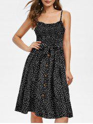 Smocked Polka Dot Midi Dress -