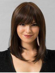 Full Bang Straight Medium Human Hair Wig -