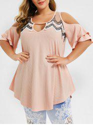 Plus Size Cold Shoulder Keyhole Ribbed T-shirt -