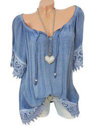 Lace Panel Tie Raglan Sleeve Blouse -