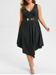 Plus Size Plunging Neck Asymmetrical Sleeveless Dress -