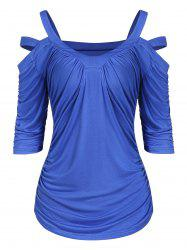 Cold Shoulder Solid Plunge T Shirt -