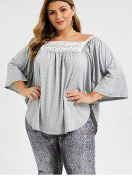 Plus Size Marled Lace Panel Dolman Top -